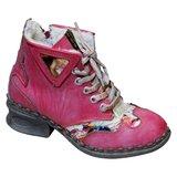 Leuke leren boots, rood/oud roze met fantasie print en teddy voering._