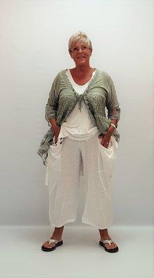 Broek,  wit,  Made in Italy, zakken voor en achter, rekbare taille, linnen/katoen