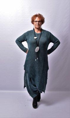 Jurk/ trui Kekoo patrol gebreide jurk, asymmetrisch, strepen in de breedte