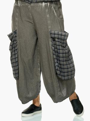 Broek capri Kekoo, antraciet, washed out, met geruite zakken en rand achterpand