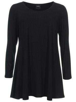 Basis-shirt amy zwart A-lijn ,driekwart mouw .