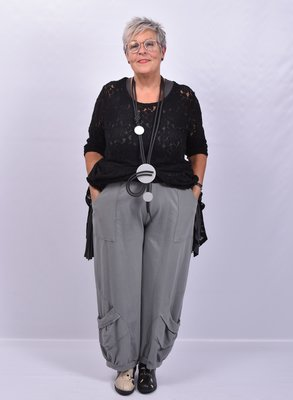 Ballonbroek grijs met opgezette zakken en rekbare taille, Moonshine.