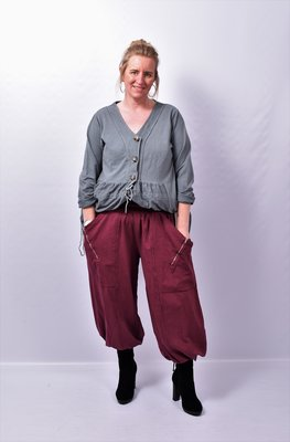Broek, bordeaux, Moonshine, ballonmodel, mooie zakken met ritsjes en brede tailleband
