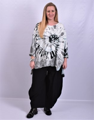 Shirt/tuniek zwart/wit tie&dye met kanten strook onderaan, Moonshine