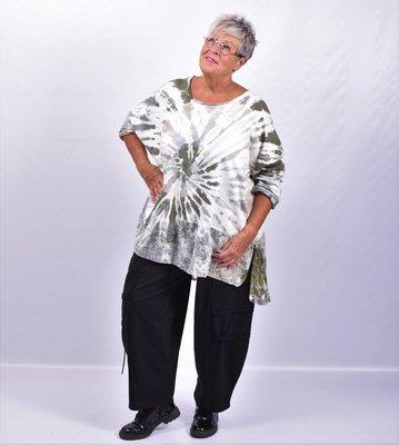 Shirt/tuniek groen/grijs/bruin tie&dye met kanten strook onderaan, Moonshine