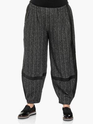 Broek Kekoo grijs, elastische taille, steekzakken en lederlook details