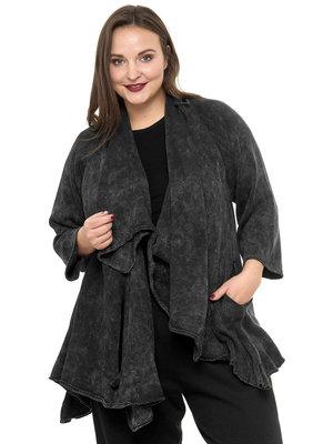 Apart vest Kekoo antraciet/zwart, lange mouw, met grote openingen aan voorkant, op verschillende manieren te dragen