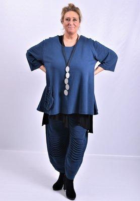 Tuniek, jeansblauw, Les Freres, grote A-lijn, zak met lusjes op rechter voorpand