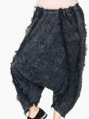 Zouavebroek Kekoo zwart  van gebreid stof
