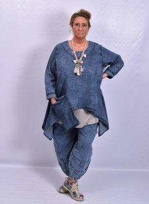 Tuniek, la Bass jeansblauw stone washed, grote A-lijn, grote zak, asymmetrisch met punten aan zijkant