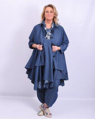 Jas/ blouse La Bass, jeansblauw, kraag, Grote A-lijn, knoopsluiting