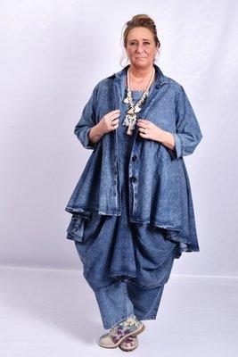 Jas/ blouse La Bass, jeansblauw, stonewashed,kraag, Grote A-lijn, knoopsluiting