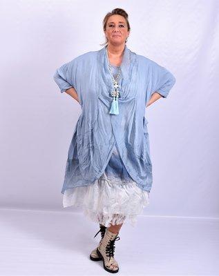 Lange blouse/tuniek, jeansblauw, ronde hals met waterval hals en zakken, Made in Italy