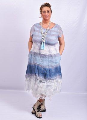 Jurk, Made in Italy, blauw/ grijs, wazige streep, onderste baan zijde en mouwtjes van zijde