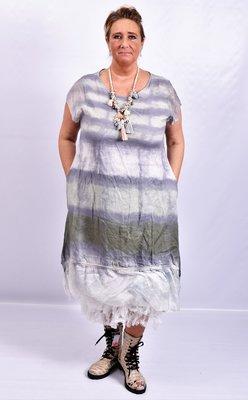 Jurk, Made in Italy, groen/ grijs, wazige streep, onderste baan zijde en mouwtjes van zijde
