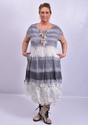 Jurk, Made in Italy, grijs/ zwart, wazige streep, onderste baan zijde en mouwtjes van zijde