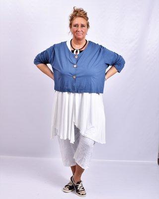 Vestje, kort, jeansblauw, Moonshine, A-lijn, met knoopsluiting, voor korter dan achter
