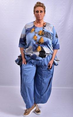 Broek, jeansblauw, Moonshine, ballonmodel, twee lagen stof op voorpand met zakken