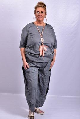 Broek, antraciet, Moonshine, ballonmodel, twee lagen stof op voorpand met zakken