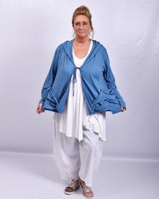 Vestje, kort, blauw, Moonshine, A-lijn, sluiting met veter, zakjes met lusjes, capuchon