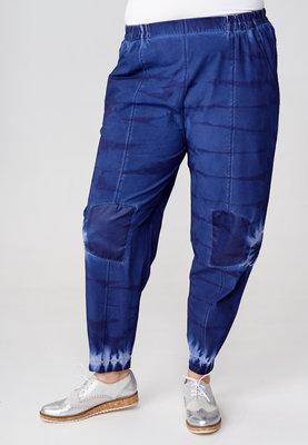 Broek Kekoo blauw, handgeschilderde print tie-dye, elastische taille, steekzakken