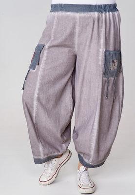 Ballonbroek Kekoo, rekbare taille, taupe met jeansblauw, Ibiza-style,tweekleurg.