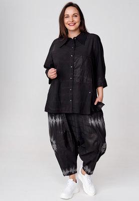 Blouse Kekoo zwart met knoopsluiting, hand geschilderde print, tie-dye