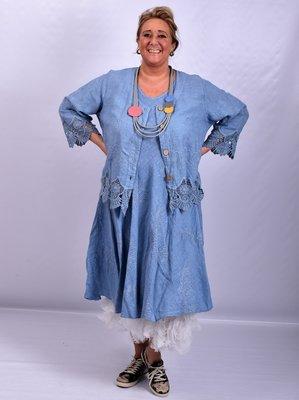 Jasje/ vestje, kort, jeansblauw met geborduurde print, kant aan de onderkant, Moonshine, recht model