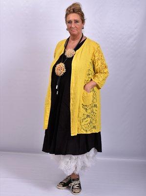 ..Vest, geel, Moonshine, A-lijn, openvallend, linnen met kant.