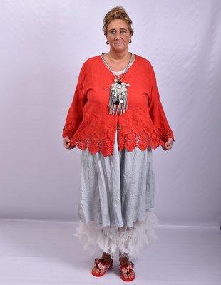 Jasje/ vestje, kort, rood met geborduurde print, kant aan de onderkant, Moonshine, recht model