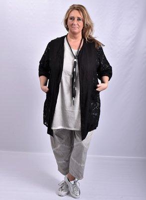Vest, zwart, Moonshine, A-lijn, openvallend, linnen met kant.