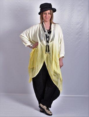 Lange blouse/tuniek, geel, Tie-dye, ronde hals met waterval hals en zakken, Made in Italy