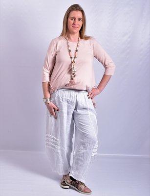 Ballonbroek, wit, linnen, rekbare taille, mooie zakken op taillehoogte, diagonale naden
