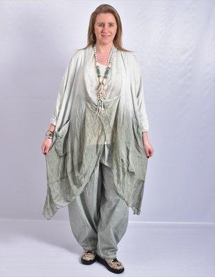 Lange blouse/tuniek, groen, Tie-dye, ronde hals met waterval hals en zakken, Made in Italy