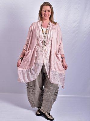 Lange blouse/tuniek, roze, ronde hals met waterval hals en zakken, Made in Italy