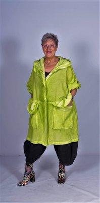 Stoere wijde lange mantel / jas met capuchon limegroen stone washed