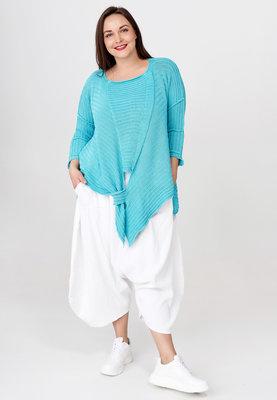 Trui Kekoo aqua gebreide asymmetrische trui met lange mouw