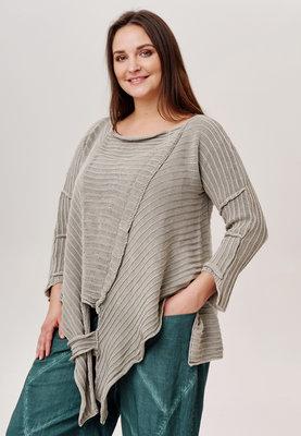 Trui Kekoo taupe/ grijs  gebreide asymmetrische trui met lange mouw
