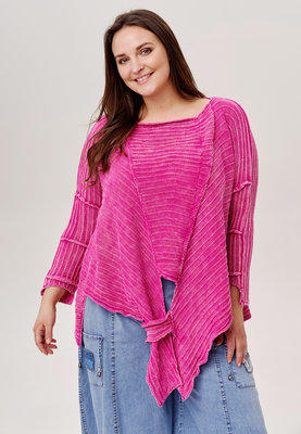 Trui Kekoo roze gebreide asymmetrische trui met lange mouw