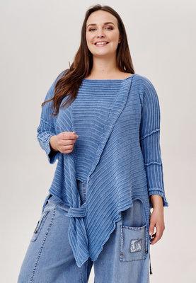 Trui Kekoo jeansblauw gebreide asymmetrische trui met lange mouw
