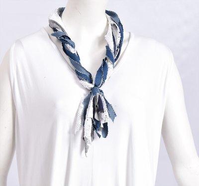 Myrjo stoffen ketting wit/blauw/grijs
