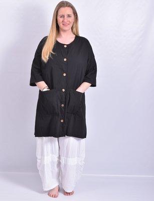 Blouse/jas, zwart, knoopsluiting, ronde hals  en 7/8 mouw, a-lijn, Moonshine,