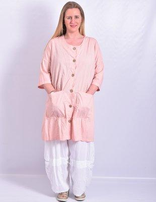 ..Blouse/jas, oud roze, knoopsluiting, ronde hals  en 7/8 mouw, a-lijn, Moonshine,