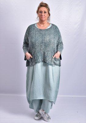 Trui Kekoo emeraldgroen gebreide trui met halflange mouw en ronde hals