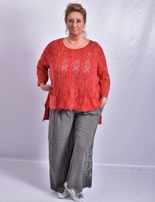Trui Kekoo rood gebreide trui met halflange mouw en ronde hals