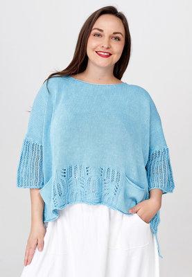 Trui Kekoo licht blauw gebreide trui met halflange mouw en ronde hals