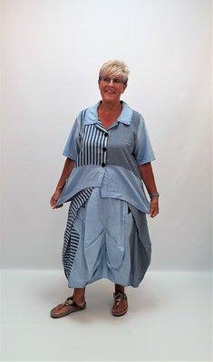 Blouse/ jasje, Kekoo, blauw met streep, asymmetrisch, A-lijn, korte mouw