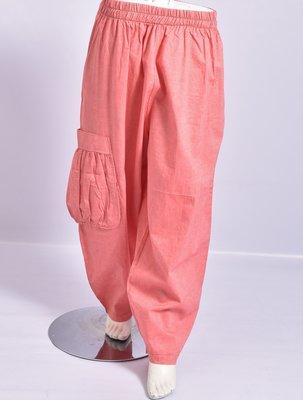 Broek, La Bass, roze, steekzakken, rekbare taille, grote zak met plooien aan een kant