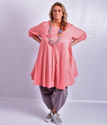 Tuniek/ jurk, la Bass roze, grote A-lijn, halflange mouw, klokkend model