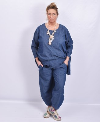Ballonbroek, La Bass, jeansblauw, steekzakken, elastische taille, doorgestikte naden op de broek